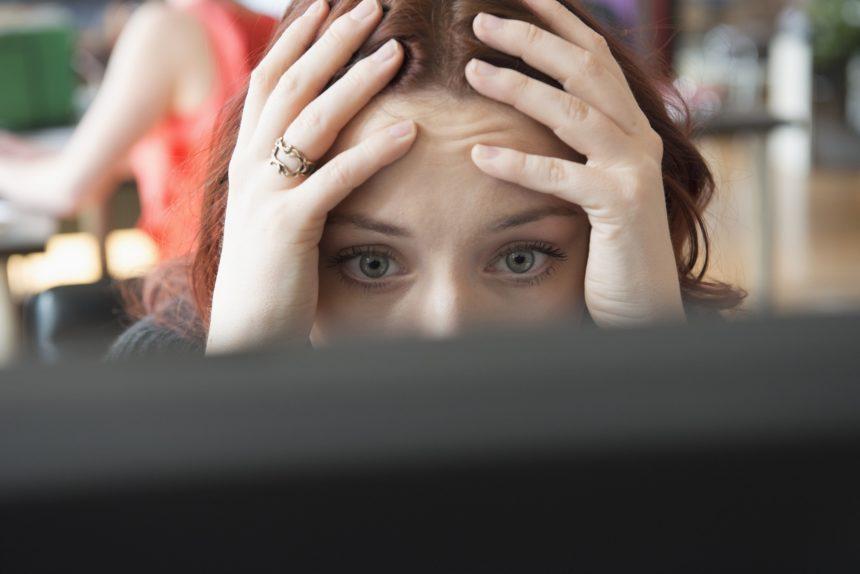 Migraine, woman with headache