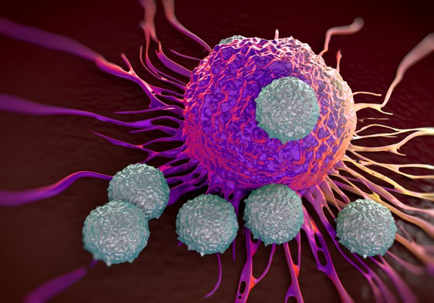 T-cells attacking cancer cell