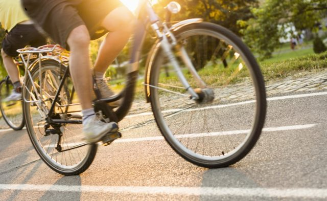 person riding a bike