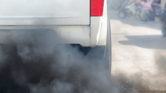 Air pollution coming from truck's exhaust