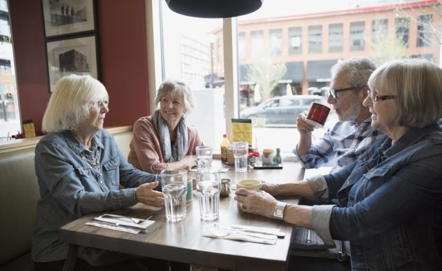 older adults out to eat