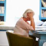 stressed older woman