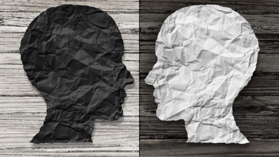 Two different colored heads facing each other. Concept: Bipolar Disorder