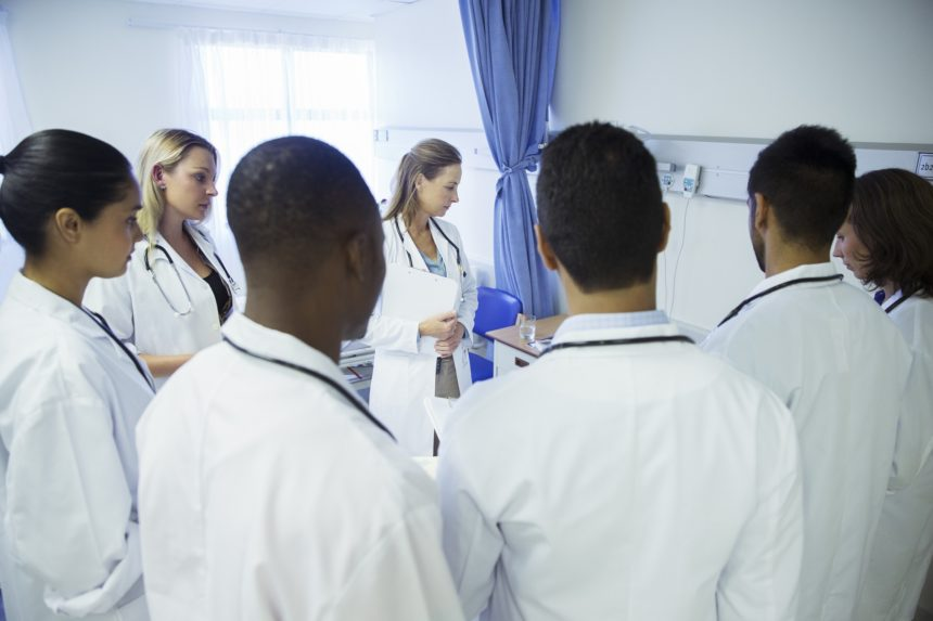 medical students gathered in a room